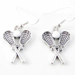 Lacrosse Sticks Silver Earrings